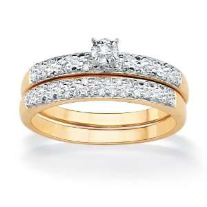 PalmBeach Jewelry Tutone 10k Gold Round Diamond Pav Wedding Ring Set