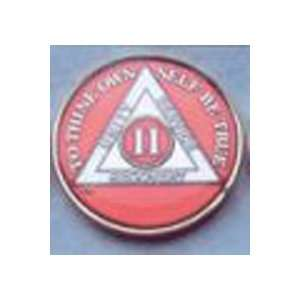 AA Coin   4 YEAR TRI COLOR RED with Silver & Gold Plate