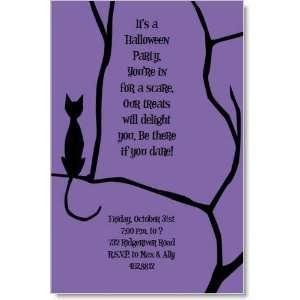 Black Cat Halloween Invitations