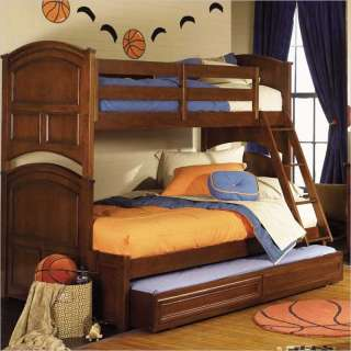 Lea Deer Run Twin Over Full Wood Bunk Bed in Brown Cherry Finish   625