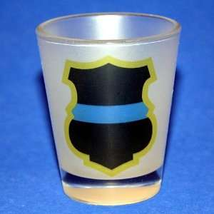 Thin Blue Line Police Shield Frosted Shot Glass