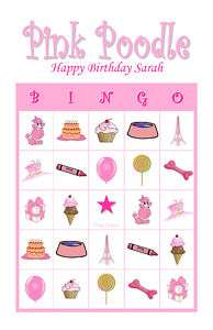 Pink Poodle Birthday Party Game Bingo Cards