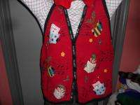 HYSTERICAL MUSICAL UGLY CHRISTMAS SWEATER VEST 26/28 MENS WOMENS