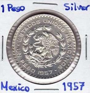 Mexico $ 1 Peso Coin Silver 10% Morelos 1957 Exc, Cond.