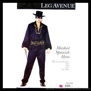 Mens 4 PC. MASKED SPANISH HERO Zorro Cape Mask Leg Avenue 83568 Adult