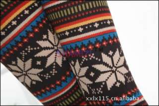 Vintage Snowflake Stripe Wool Blend Slim Pant Leggings Tights Pants