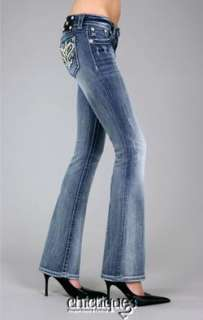 Miss Me Jeans Paisley Pearl Crystal Leather Heart Denim Boot Cut