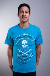 NEW MENS YOUNG & RECKLESS TURQUOISE DIAMOND SUPPLY PIRATE TEE T SHIRT