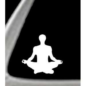 YOGA POSITION (Sitting) White 4.5 Vinyl STICKER / DECAL (Martial Arts
