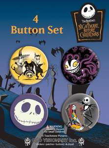 Nightmare Before Christmas Carded Button Set of 4 #1