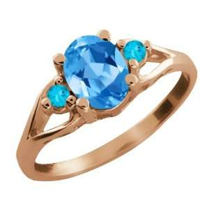 Ct Genuine Oval Swiss Blue Topaz Gemstone 18k Rose Gold Ring Jewelry