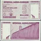 ZIMBABWE AGRO CHEQUE 100 BILLION DOLLARS 2008 P 64 UNC