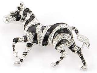 African Safari Zebra Horse Blk Enamel Clear Crystal Rhinestone Animal
