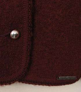 Geiger Boiled Wool Button Jacket Red 10 PERFECT