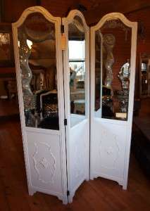 Large Mirrored French Style Three Fold Screen