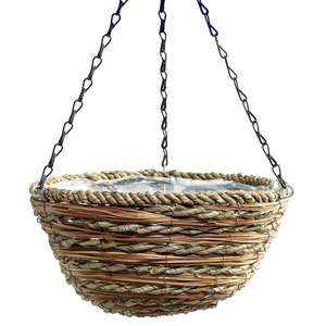 Rope and fern hanging plant basket planter with chain and hook new