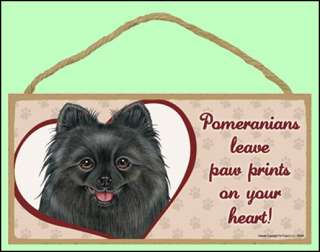 Pomeranian (black) Paw Prints 10x5 Dog Sign New