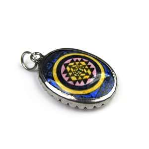Hindu Sri Yantra for Growth and Healing, Full Color Enameled Pendant
