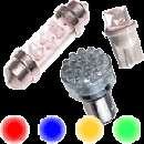 PY21W BAU15s 581 SILVER CHROME RED Stop Tail Car Bulbs