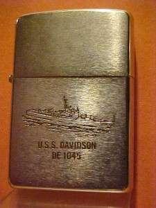 sided 1970 Vietnam Service Zippo Lighter   USS Davidson DE 1045
