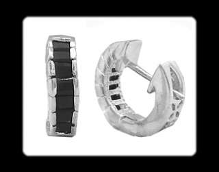 Xmas Gift Black Onxy White Gold GP Earrings Fashion Jewelry Hoop