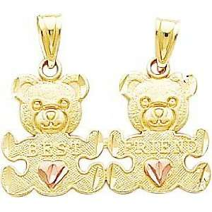 : 14K Two Tone Gold Diamond Cut Teddy Bear Break Apart Charm: Jewelry