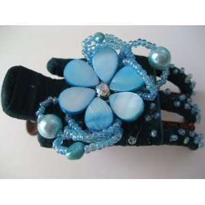 Turquoise Daisy Flower Seashell Hair Barrette Clip Jewelry