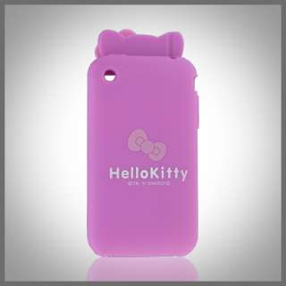 FOR APPLE IPHONE 3G 3GS PINK HELLO KITTY EARS W BOW SILICONE SKIN CASE