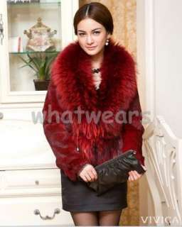 Womens Real Raccoon Fur Long Trench Coat/Jacket Dark Grey P69