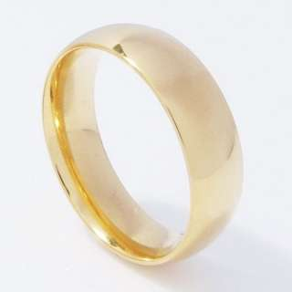 Stainless Steel Comfort Fit Gold Plated Band Ring 16k