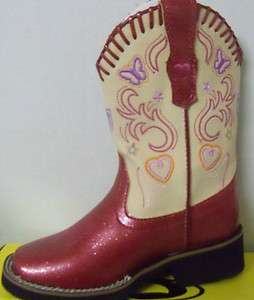 Kids Western Boots  Fushia/Creme (Style#9 18 1801 914 PI) Faux Leather