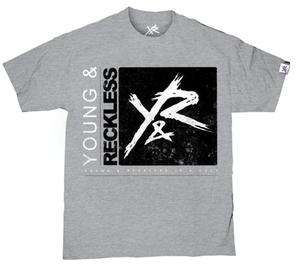 YOUNG & RECKLESS Simple Tee Heather Grey 100% Cotton Drama Skateboard