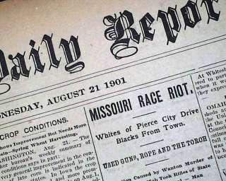 MO Negroes Banished Lynchings MISSOURI RACE RIOT 1901 Newspaper