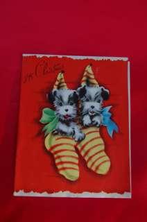 1940 Christmas Card Cute Rascal Wire Fox terrier dog n Stockings