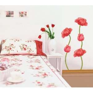 RED POPPY DECOR MURAL ART WALL PAPER STICKER WST 01