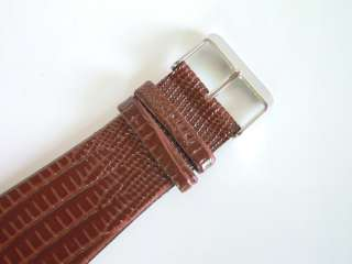 New Brown square golden crystal lady women leather wrist watch clock
