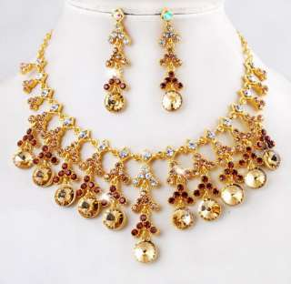 free 1set Tassels wedding womens Necklace Earring Set gold plated