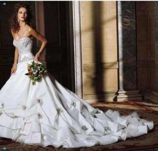 Custom White/Ivory Flower Applique Bead Wedding dress