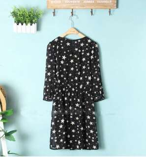 2012 Women Chiffon Cute Star Pattern Gown Mini Dress Casual Half