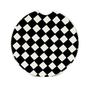 Black and White Checker Pattern Single Car Coaster