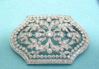 DIAMOND BROOCH PENDANT 18K WHITE GOLD 203 DIAMONDS 4.47 CARATS