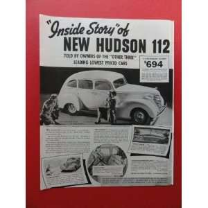 1938 New Hudson 112,$694, Print Ad. (woman/boy/picture