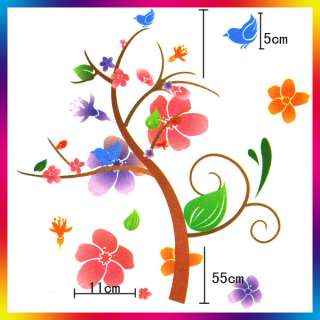 Colorful Flower Vine Art Decal Wall Sticker 26.8x13.4