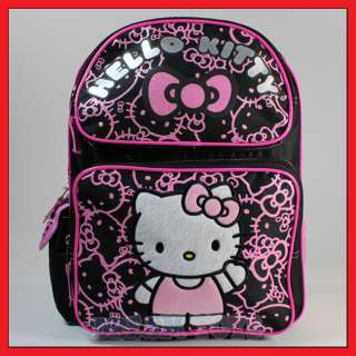 Sanrio Hello Kitty Black Glitter 14 Backpack   Bag School Girls Kids