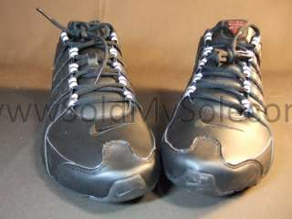 Nike Shox NZ Black Red White Mens Running R4 Leather 378341 022 New Sz