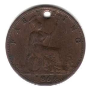 1864 UK Great Britain England Farthing Coin KM#747.2   Queen Victoria
