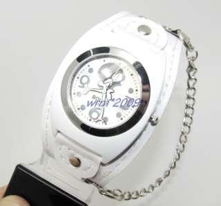 Punk SKULL Men/Women Bracelet Watch White Leather #09