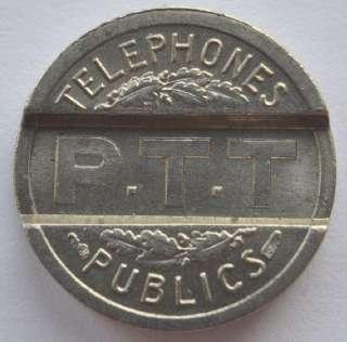1937 France PTT Public Telephone Fee Token, UNC, BEAUTY. Size  17 mm