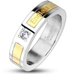Gold IP Endless Love Engraved Cubic Zirconia Band Ring Jewelry