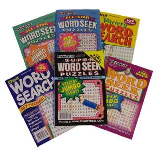 Lot of 6 Penny Press/Dell Word Search/Seek Puzzle Books